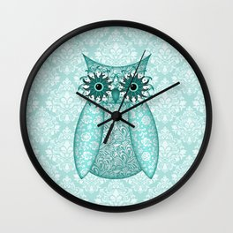 Turquoise Owl Collage Wall Clock