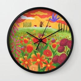Flowers field Wall Clock