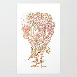 1 line zombie head Art Print