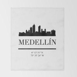 MEDELLIN COLOMBIA BLACK SILHOUETTE SKYLINE ART Throw Blanket