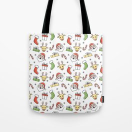 White Christmas Happy Santa and Reindeer Pattern Tote Bag