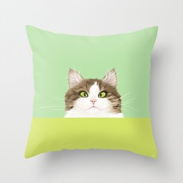 Cross-eyed Kitty Throw Pillow