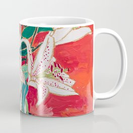 Blush Lily Bouquet on Orange Coffee Mug