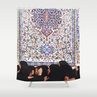persian Shower Curtains featuring Persian Tile by sakinarawr