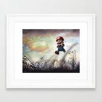 super mario Framed Art Prints featuring Super Mario by JLEEORIGINALS