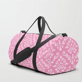 Damask Baroque Pattern Light on Dark Pink Duffle Bag