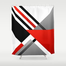 Sophisticated Ambiance - Silver & Passion Red Shower Curtain