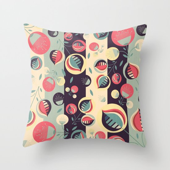 50's floral pattern II Throw Pillow