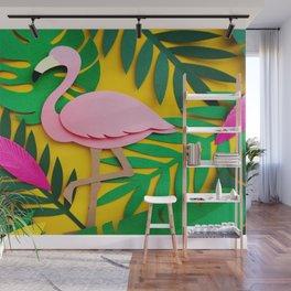 3D Flamingo Paper Art Wall Mural