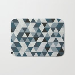 Sea Blue and Grey / Gray - Hipster Geometric Triangle Pattern 02 Bath Mat