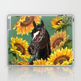 Horse with Sunflowers Laptop & iPad Skin
