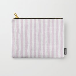 Baby pink white modern paint brushstrokes stripes Carry-All Pouch