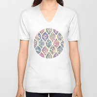micklyn V-neck T-shirts featuring Patterned & Painted Floral Ogee in Vintage Tones by micklyn