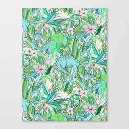 Improbable Botanical with Dinosaurs - soft pastels Canvas Print
