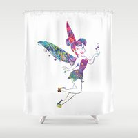 tinker bell Shower Curtains featuring Tinker Bell by Bitter Moon