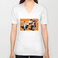 johnlock V-neck T-shirts featuring Sherlock vs. Holmes by Krusca