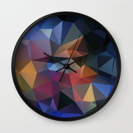 Abstract background of triangles polygon design bright colors Wall Clock