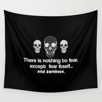 zombies Wall Tapestries featuring Fear Zombies by Spooky Dooky