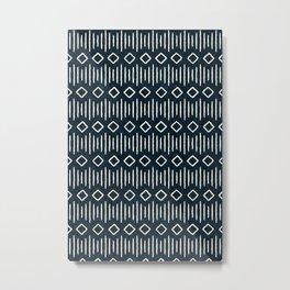 diamond stripes - indigo Metal Print