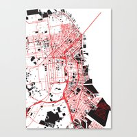 san francisco map Canvas Prints featuring San Francisco Noise Map by ARTITECTURE
