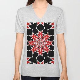 Bizarre Geometric Red Black and White Kaleidoscope Unisex V-Neck