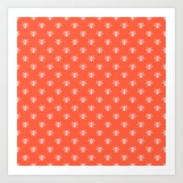 White Bees on Living Coral Peach Art Print