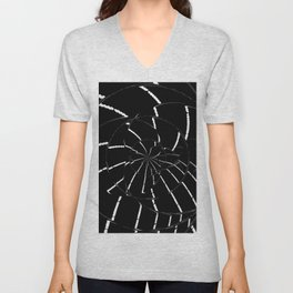 Abstract Spider Web, Black and White Lines, Spiral, Mandala, Broken Glass Unisex V-Neck