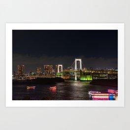 City night view of Odaiba, Tokyo , Rainbow bridge landmark Twilight scene, Odaiba, Japan. Art Print