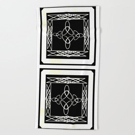 Celtic Deco Black and White Beach Towel