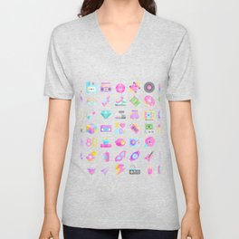 CUTE '80S PATTERN (RETRO THROWBACK EIGHTIES) Unisex V-Neck
