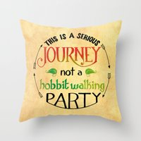 the hobbit Throw Pillows featuring Hobbit Party by Purrito Press