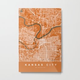 KANSAS City Map | Missouri US | Orange | More Colors, Review My Collections Metal Print