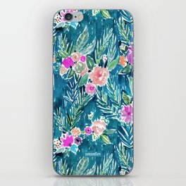 NAVY PARADISE FLORAL Tropical Hibiscus Palm Pattern iPhone Skin