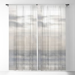 Silver Scene ~ Ocean Ripple Effect Sheer Curtain