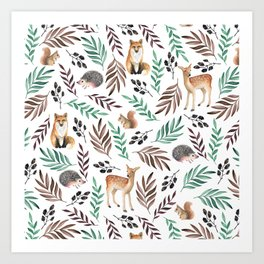 Cute forest. Watercolor Art Print