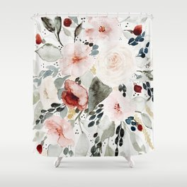 Loose Watercolor Bouquet Shower Curtain