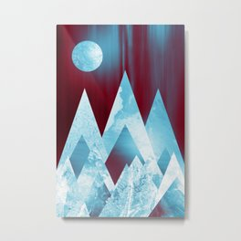 ICY MOUNTAINS UNDER A BLOOD RED WINTER MOON Metal Print