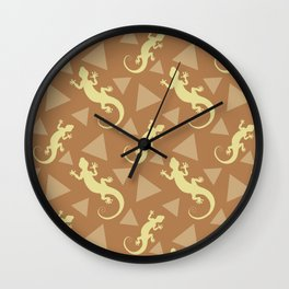 Wild crawling lizards, geometric triangle shapes whimsical ethnic tribal retro vintage warm chocolate brown lizard abstract pattern. Gifts for geometry and animal lovers. Wall Clock