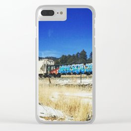 Blue Graffiti Clear iPhone Case