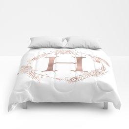 Letter H Rose Gold Pink Initial Monogram Comforters