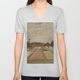 Classic Art - Flower Beds in Holland - Vincent van Gogh Unisex V-Neck