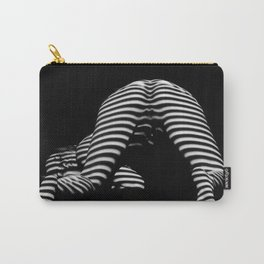 7454-KMA Striped Woman Head Down Bottom Up Black White Photo Carry-All Pouch