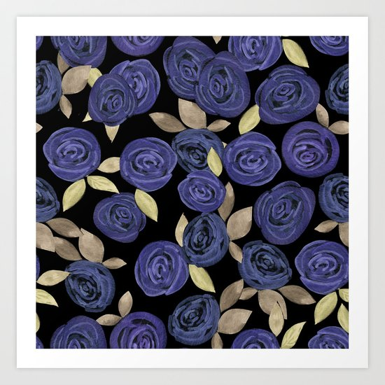 Blue watercolor roses on a black background . Art Print