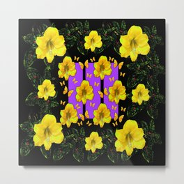 BLACK ART  YELLOW AMARYLLIS FLOWERS BUTTERFLY FLORAL Metal Print