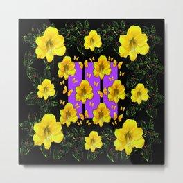 BLACK ART  YELLOW AMARYLLIS FLOWERS BUTTERFLY FLORAL Metal Print
