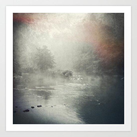 fog and light on the river Art Print