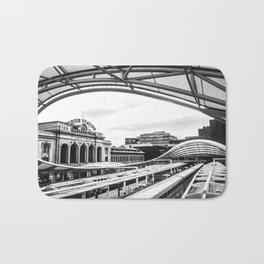Union Station // Train Travel Downtown Denver Colorado Black and White City Photography Bath Mat
