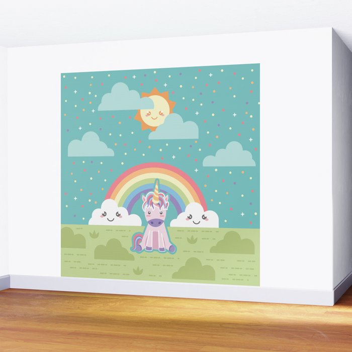 Unicorns + Rainbows Wall Mural