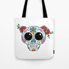 Sugar skull with flowers and bee Tote Bag
