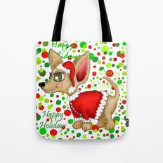 Christmas Chihuahua with dots Tote Bag